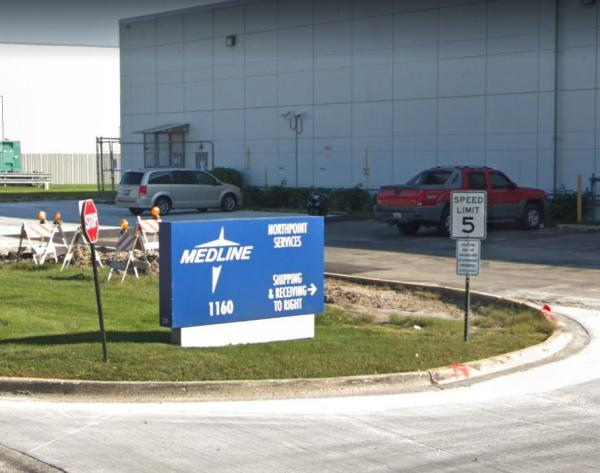 A sterilization plant owned by Medline Industries, at 1160 Northpoint Road in Waukegan, IL