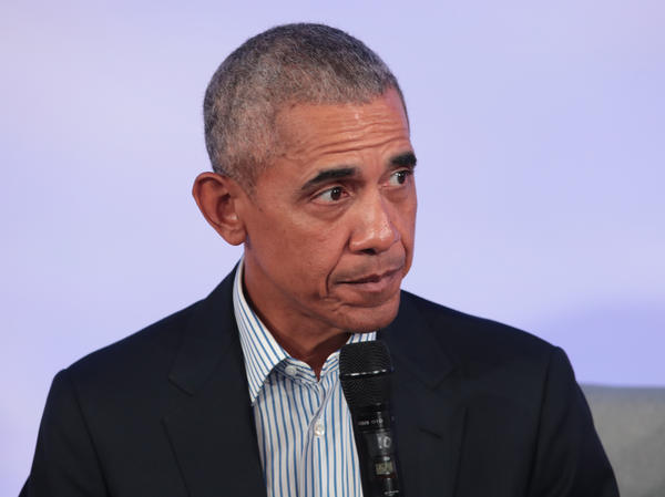 Former President Barack Obama speaks to guests at the Obama Foundation Summit on Tuesday in Chicago.