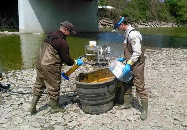 U.S. Fish and Wildlife Service applying lampricide to the Cattaraugus Creek in Gowanda.
