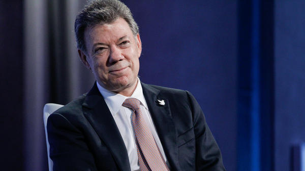 Juan Manuel Santos, the president of Colombia, listens to a panel discussion during the 2015 Clinton Global Initiative's Annual Meeting in New York City on Sept. 28, 2015.
