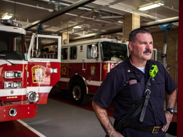 Battalion Chief Mark St. Laurent, seen here at the Franklin Square firehouse in Washington, D.C., says sometimes multiple doses of naloxone are needed to stop an overdose.