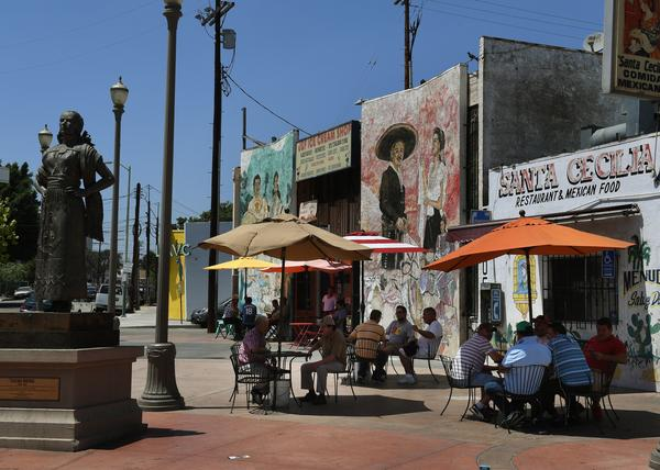 "A recently renovated Mariachi Plaza is pictured in Boyle Heights, Calif., is a Hispanic and low-income neighborhood of Los Angeles that's fighting hard to prevent gentrification, the threat of escalating rents and ""washed out"" identity."