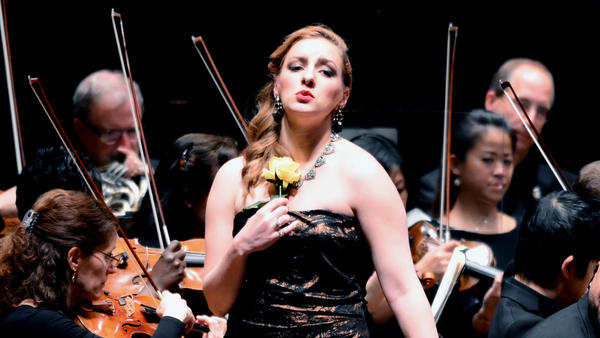 Mezzo-soprano Aleks Romano performs in <em>Carmen in Concert </em>at the Kennedy Center in Washington, D.C. on April 21, 2018.