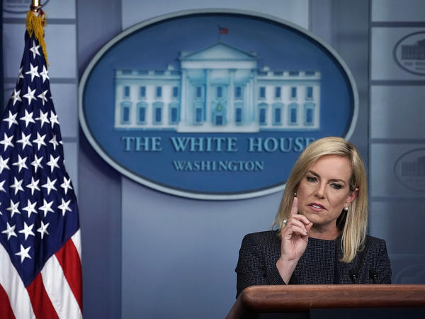 Homeland Security Secretary Kirstjen Nielsen speaks Monday during a White House news briefing about children being separated from their parents who enter the U.S. illegally.