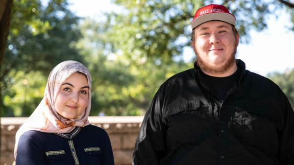 Amina Amdeen and Joseph Weidknecht encourage others to have conversations with people who may not share their political views.