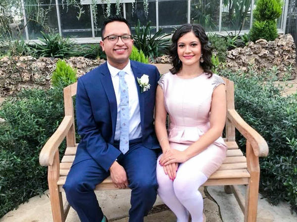 Irakere Picon, 29, and Arianna Hermosillo, 30, on their wedding day earlier this year in Oak Park Conservatory in Chicago.