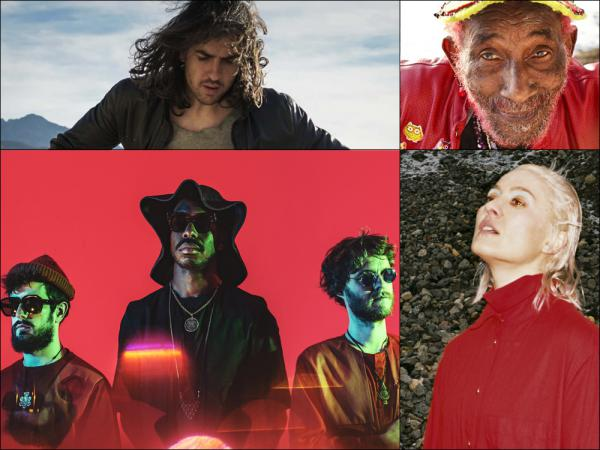 "Clockwise from upper left: Jesse Mac Cormack, Lee ""Scratch"" Perry, Cate Le Bon, The Comet Is Coming"