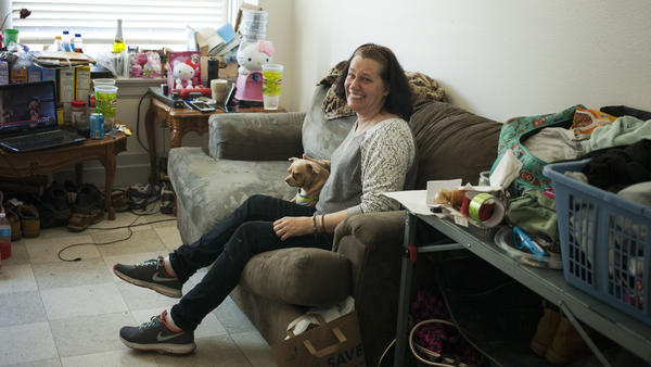 Shannon McCarty in her new apartment in Everett, Wash. Shannon was a meth and heroin user, but is in recovery with the help of a police program that connects people who use drugs with services.
