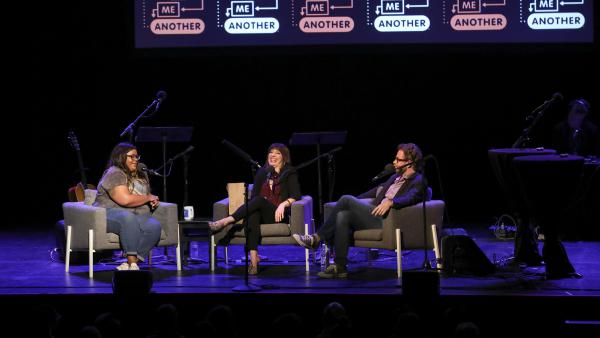 Comedian Nicole Byer is quizzed on the movie <em>Ghost</em>, alongside <em>Ask Me Another</em> host Ophira Eisenberg and Jonathan Coulton at the Moore Theatre, in Seattle, Washington.