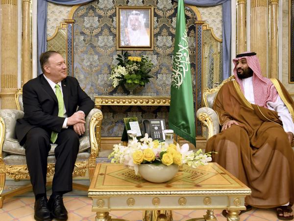 Secretary of State Mike Pompeo meets with Saudi Crown Prince Mohammed bin Salman in Jiddah, Saudi Arabia, on Wednesday. Saudi Arabia and the United Arab Emirates have both agreed to join a U.S.-led maritime contingent to protect shipping in and near the Strait of Hormuz.