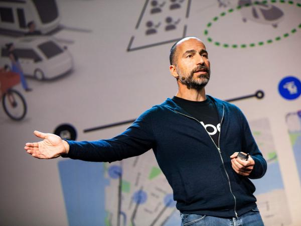 Uber CEO Dara Khosrowshahi speaks at an Uber products launch in San Francisco on Sept. 26. The company is launching its Uber Works app in Chicago, aiming to make it easier for workers to find temporary shifts.