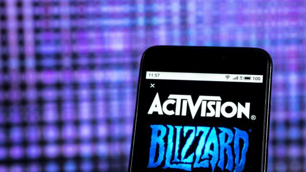 The logo of Activision Blizzard, the parent company of Blizzard Entertainment.