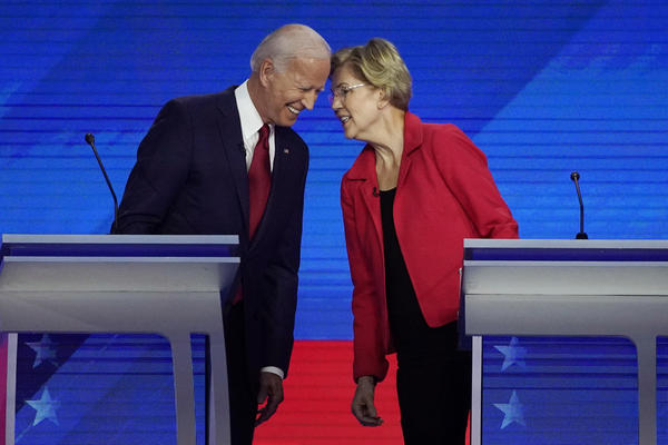 Democratic presidential candidates Joe Biden and Sen. Elizabeth Warren, D-Mass., connect before the September Democratic presidential primary debate.