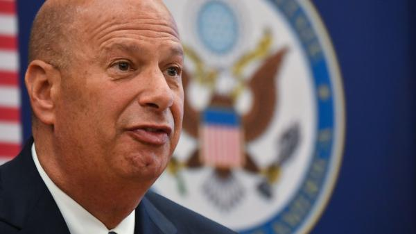 Gordon Sondland, the United States ambassador to the European Union, addresses the media during a press conference at the U.S. Embassy to Romania in Bucharest in September. Sondland is speaking to House investigators on Thursday.