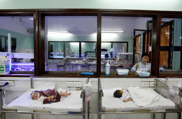 Newborns are treated at a pediatric hospital in Hanoi, Vietnam. The rates of childhood mortality have improved in Hanoi but remain high in more rural parts of the country.