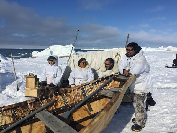 Utqiagvik whalers use many traditional tools, including the sealskin boat, or umiak, during the spring hunt.