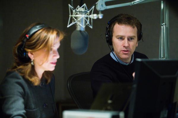 Steve Inskeep and Renee Montagne in-studio behind the mic, 2007.