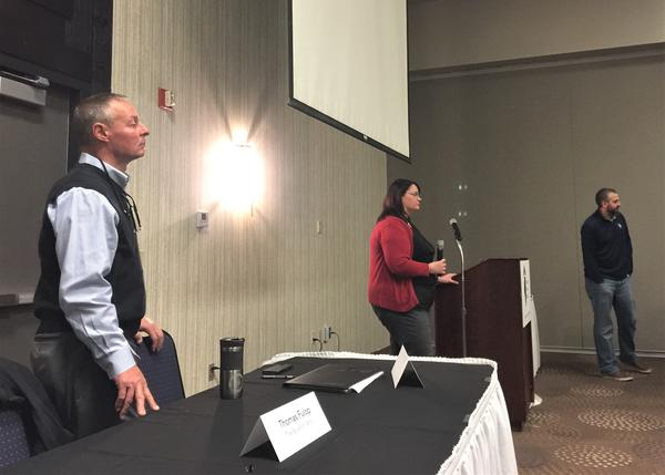 Left to right, Thomas Fulop of the Peoria Salvation Army and Kathryn Murphy and Joe Dulin of the City of Peoria spoke at the Housing Action Illinois conference in Bloomington on Friday, Oct. 25, 2019.