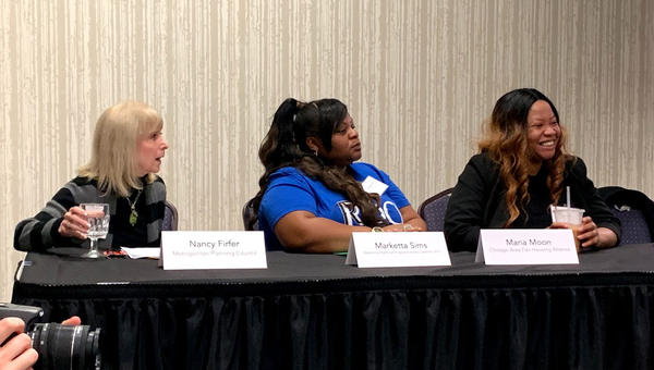 From left, Nancy Firfer with the Metropolitan Planning Council, Marketta Sims with Restoring Rights and Opportunities Coalition of Illinois, and Maria Moon from Chicago Area Fair Housing Alliance, all panelists at the Bloomington conference.
