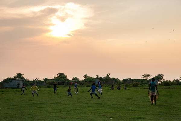 People play soccer on a char in Rajshahi, Bangladesh.