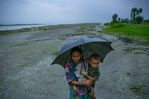 People are seen on a char near Rangpur, Bangladesh.
