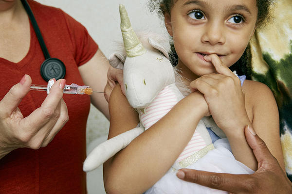The MMR vaccine against measles, mumps and rubella is recommended between 12 and 15 months old, and again between 4 and 6 years old.
