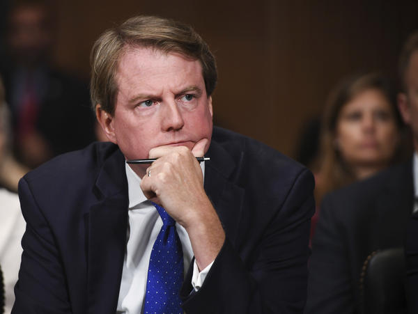 White House counsel Don McGahn in September. Lawyers for McGahn appeared in federal court on Thursday in a dispute over whether he will have to sit for questions from House investigators conducting the impeachment inquiry into President Trump.