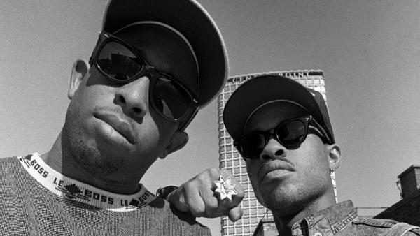 Gang Starr — DJ Premier, left, with MC Guru — photographed in London in 1990. Starting in 2017, Premier spent two years working with archival recordings from Guru, who passed away in 2010.