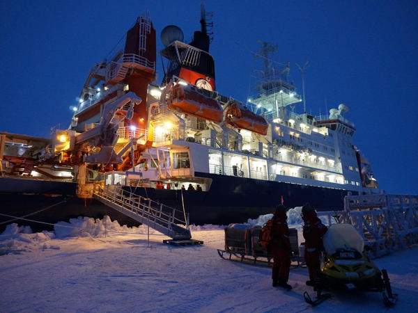 The German icebreaker Polarstern is moored to a piece of ice that scientists hope to drift with and study for the next year.