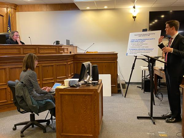 Raph Graybill, chief legal counsel for the governor's office defends the administration's temporary vape ban in Ravalli County District Court Nov. 1, 2019