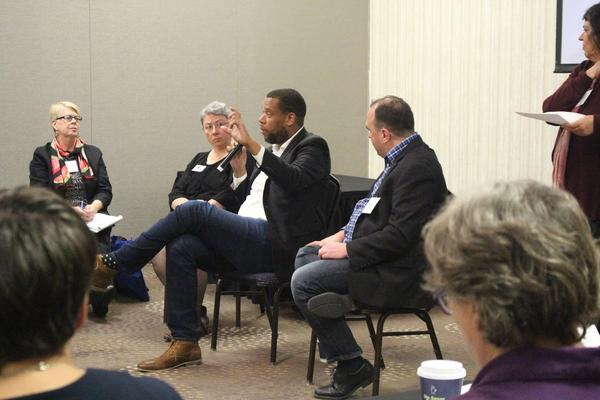 Governing Magazine reporters Daniel Vock and Brian Charles discussed their investigative report showing Illinois communities are deeply segregated, during the Housing Action Illinois Conference in Bloomington.