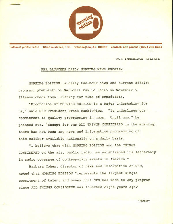 Press release announcing the launch of Morning Edition