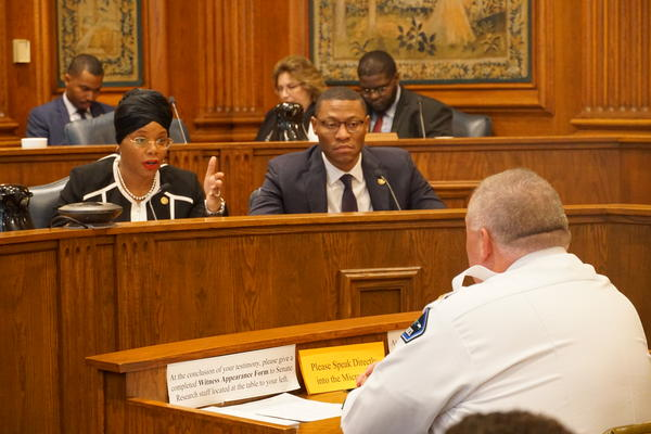 State Sen. Jamilah Nasheed, D-St. Louis, addresses Rolla Police Chief Sean Fagan during the Interim Committee on Public Safety hearing on Monday.