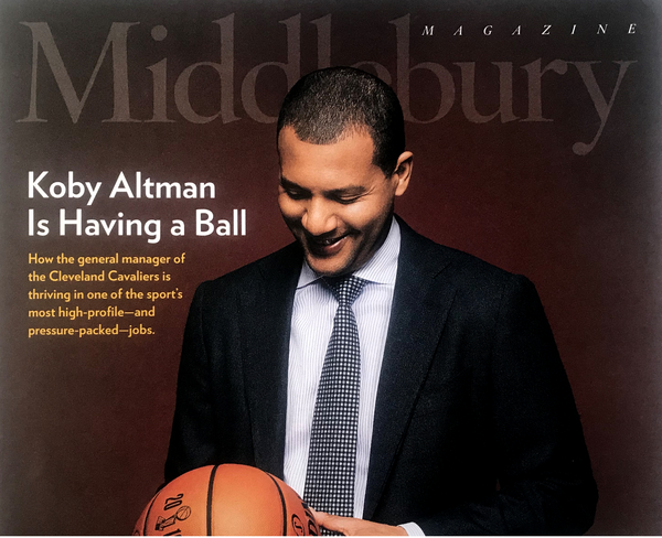 Altman on the cover of a magazine his alma mater, Middlebury College.