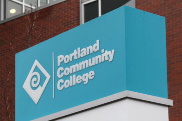 <p>A Portland Community College sign is pictured in Portland, Ore., May 16, 2016.</p>