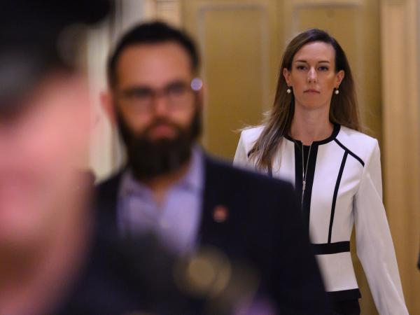 Jennifer Williams, a foreign service officer detailed to work in Vice President Pence's office, arrives for a deposition on Capitol Hill on Thursday.