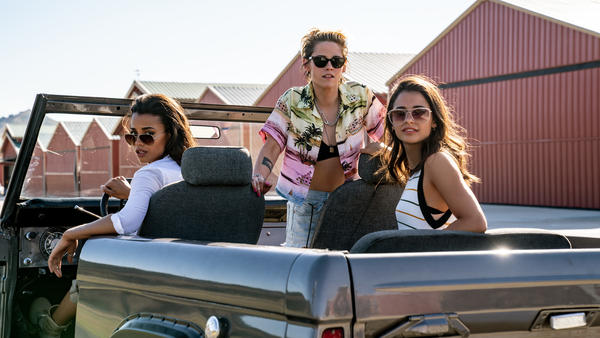 Elizabeth Banks directs the reboot of <em>Charlie's Angel</em> featuring Ella Balinska (from left), Kristen Stewart and Naomi Scott — and a whole bunch of wigs.