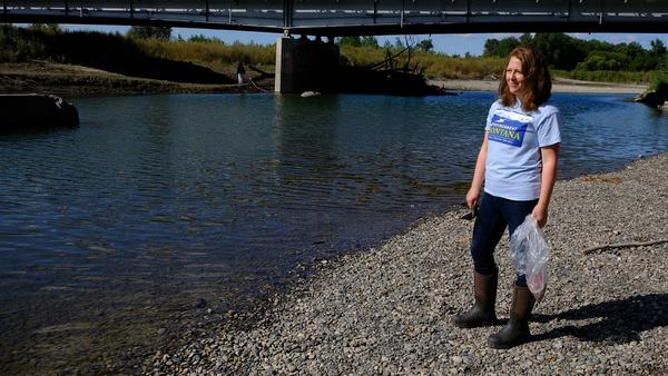 Skye Borden with Environment Montana samples the Yellowstone River in Billings for plastic waste September 12.