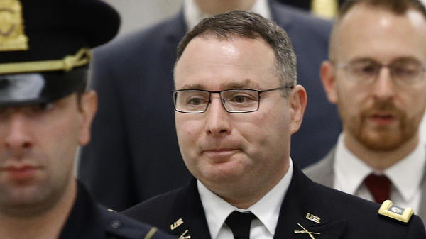 Army Lt. Col. Alexander Vindman, a military officer at the National Security Council, departed after testifying on Oct. 29.