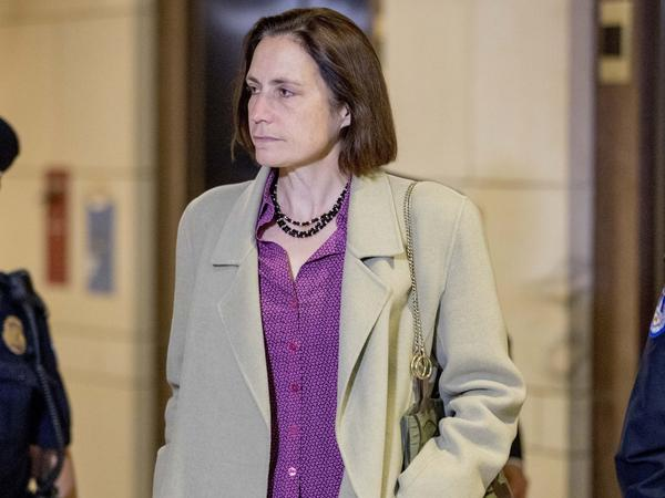 Fiona Hill, a former White House adviser on Russia, arrives for a closed-door meeting as part of the House impeachment inquiry on Monday.