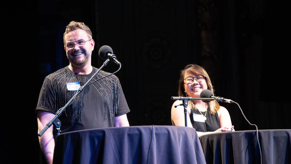 Contestants Jeramey Kraatz and Alice Zhu appear on <em>Ask Me Another</em> at the Majestic Theatre in Dallas, Texas.