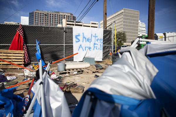 An encampment outside the Austin Resource Center for the Homeless.