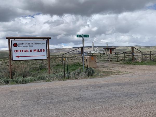 A sign for the Kemmerer mine's load-out station.