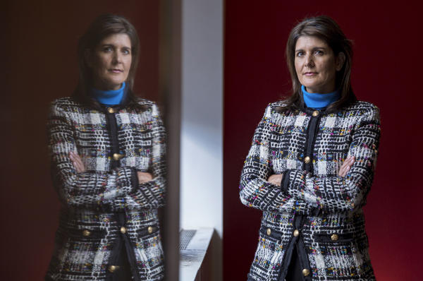 """In an interview with NPR about her new book, former Ambassador to the U.N. Nikki Haley said she made an effort to avoid """"toxic"""" and """"trashy"""" Washington — and that she'll campaign for President Trump in 2020. Above, she poses for a portrait at NPR studios in New York City on Nov. 8."""