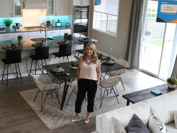 """Lennar New Home Consultant Brittney Svach is selling """"smart homes"""" at the Amazon Experience Center in Black Diamond, Wash., about an hour south of Seattle."""
