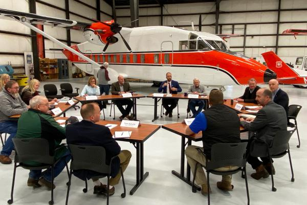 Montana Rep. Greg Gianforte and U.S. Agriculture Undersecretary Jim Hubbard hold a forest management roundtable at Neptune Aviation in Missoula, Nov. 7, 2019.