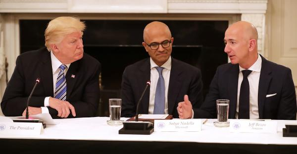 President Trump met with Microsoft CEO Satya Nadella and Amazon CEO Jeff Bezos as part of the American Technology Council in June 2017.