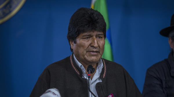 Evo Morales, Bolivia's president, speaks during a press conference in El Alto, Bolivia, on Nov. 9, 2019. Morales resigned the next day after protests and allegations of election fraud.