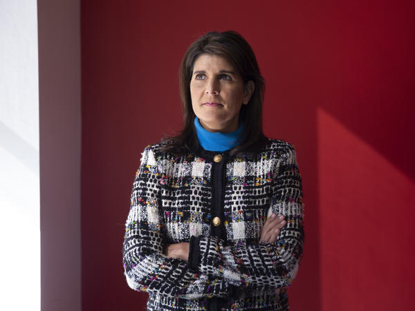 Former Ambassador to the U.N. Nikki Haley's repeated pledges of allegiance to Trump in her new memoir, <em>With All Due Respect,</em> may surprise those who thought Haley had left the administration halfway through her term as some sort of protest. Here, Haley is seen at NPR's offices in New York City.