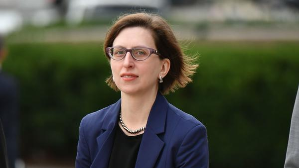Laura Cooper, the deputy assistant secretary of defense for Russia, Ukraine and Eurasia, arrives at the U.S. Capitol on Oct. 30. A transcript of her testimony to House investigators in the impeachment inquiry was released on Monday.